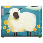 Fluffy Sheep and Yellow Flowers iPad Case
