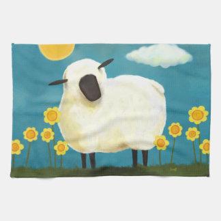 Fluffy Sheep & Yellow Flowers Tea Towel
