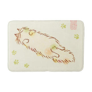 Fluffy Sleepy Cat Bath Mat