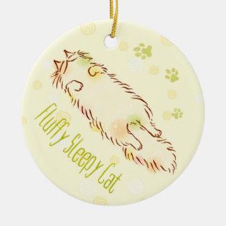 Fluffy Sleepy Cat Christmas Ornament