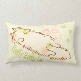 Fluffy Sleepy Cat Lumbar Pillow