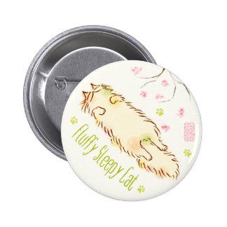 Fluffy Sleepy Cat Plum blossom 2 Inch Round Button