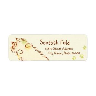 Fluffy Sleepy Cat Return Address Label