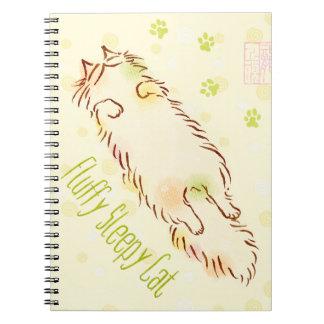 Fluffy Sleepy Cat Spiral Notebook