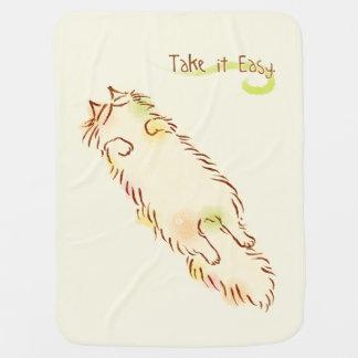 Fluffy Sleepy Cat Take it Easy Baby Blanket