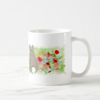 Fluffy Spring Bunny Rabbit and Whimsy Wild Flowers Basic White Mug