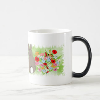 Fluffy Spring Bunny Rabbit and Whimsy Wild Flowers Morphing Mug
