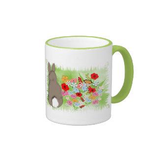 Fluffy Spring Bunny Rabbit and Whimsy Wild Flowers Ringer Mug
