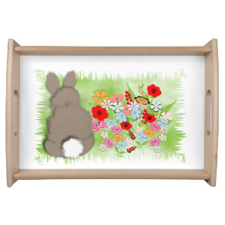 Fluffy Spring Bunny Rabbit and Whimsy Wild Flowers Serving Tray
