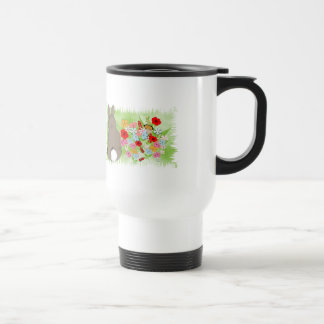 Fluffy Spring Bunny Rabbit and Whimsy Wild Flowers Stainless Steel Travel Mug