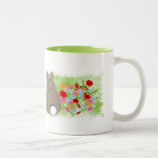 Fluffy Spring Bunny Rabbit and Whimsy Wild Flowers Two-Tone Mug