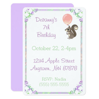 Fluffy Squirrel with Pink Balloon Birthday Card