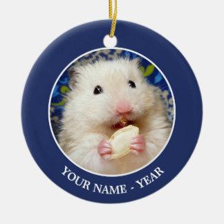 Fluffy syrian hamster Kokolinka eating a seed Christmas Ornament