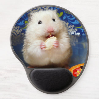 Fluffy syrian hamster Kokolinka eating a seed Gel Mouse Mat