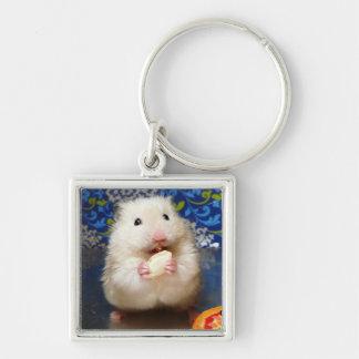 Fluffy syrian hamster Kokolinka eating a seed Keychain