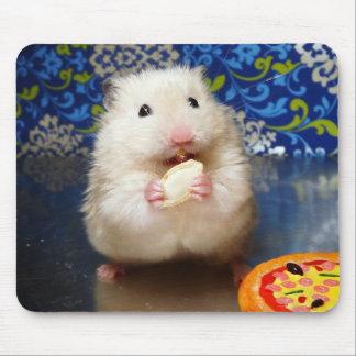 Fluffy syrian hamster Kokolinka eating a seed Mouse Mat