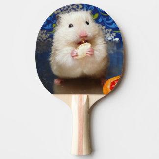 Fluffy syrian hamster Kokolinka eating a seed Ping Pong Paddle