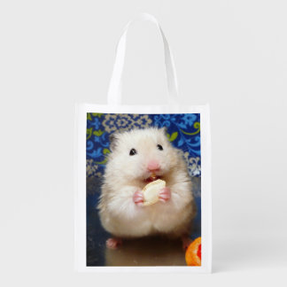 Fluffy syrian hamster Kokolinka eating a seed Reusable Grocery Bag