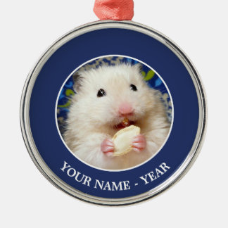 Fluffy syrian hamster Kokolinka eating a seed Silver-Colored Round Decoration