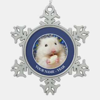 Fluffy syrian hamster Kokolinka eating a seed Snowflake Pewter Christmas Ornament