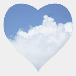 Fluffy White Cloud in Blue Sky Heart Sticker