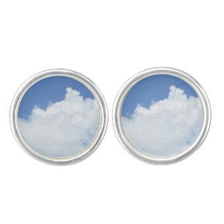 Fluffy White Clouds in Bright Blue Sky Cufflinks