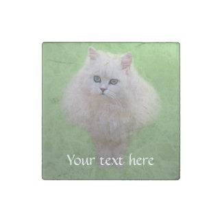 Fluffy white kitten stone magnet