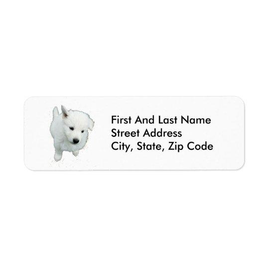 Fluffy White Puppy Photograph Return Address Label