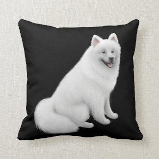 Fluffy White Samoyed Dog Pillow Cushion