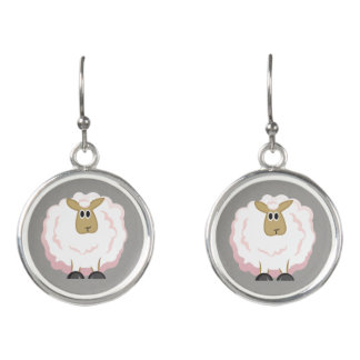 Fluffy White Sheep Cartoon Earrings
