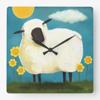 Fluffy White Sheep & Flowers Wall Clock