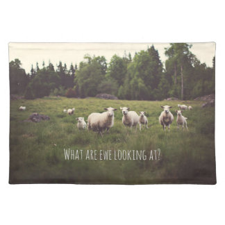 Fluffy white sheep & lamb in green pasture placemat