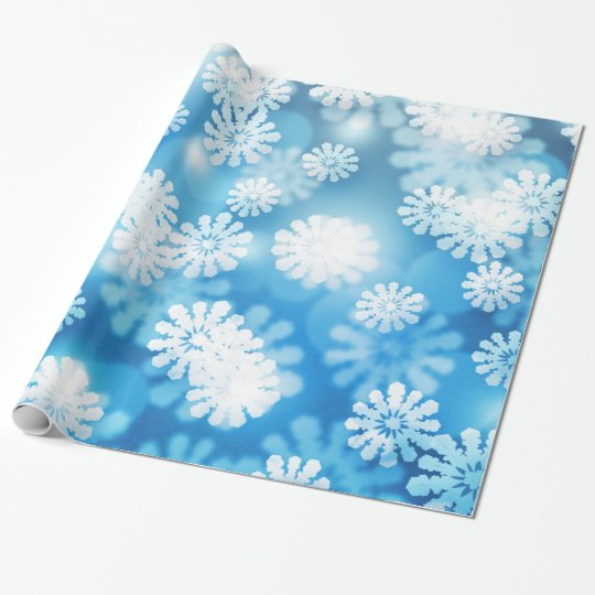 Fluffy White Snow Bokkeh on Blue Wrapping Paper