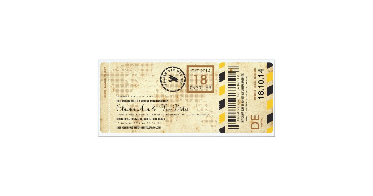 Flugzeug Bordkarte Ticket Hochzeitseinladung Card Zazzle Co Uk