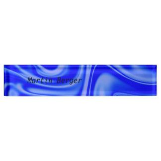fluid art 01 inky blue desk name plate