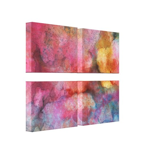 Fluid Art Abstract Vivid Pink Ink Painting Canvas