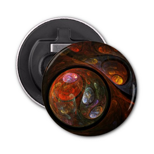 Fluid Connection Abstract Art Button Bottle Opener