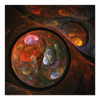 Fluid Connection Abstract Art 13 Cm X 13 Cm Square Invitation Card
