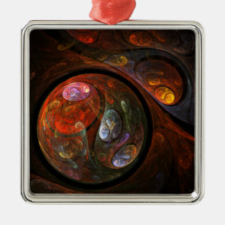 Fluid Connection Abstract Art Square Christmas Ornament