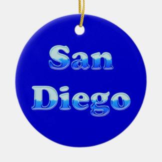 Fluid San Diego - On Blue Christmas Ornament