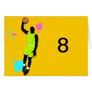 Fluo Basketball Player Table Tent Template Cards