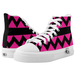 Fluo Deep Pink & Black Zigzag High Tops Printed Shoes