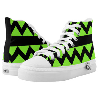 Fluo Green & Black Zigzag High Tops Printed Shoes