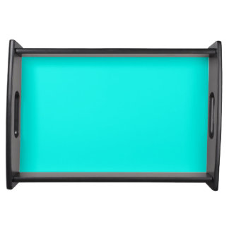 Fluorescent Aqua Teal Neon Blue Personalized Serving Tray
