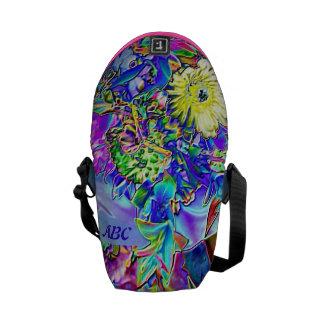 Fluorescent Blue, Lavender & Yellow Flowers Commuter Bags