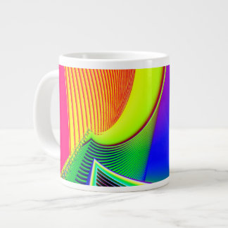 Fluorescent Boat and Giant Wave Fractal Large Coffee Mug