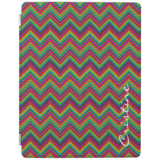 fluorescent colored zigzags personalized by name iPad cover