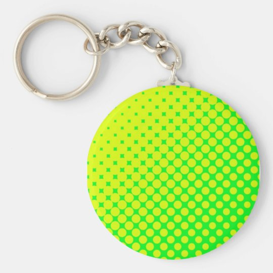 Fluorescent Eighties Retro Green & Yellow Keychain