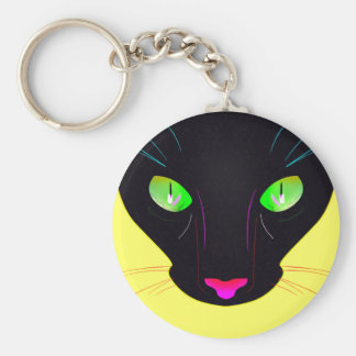 Fluorescent Green Cat Eyes Portrait Basic Round Button Key Ring