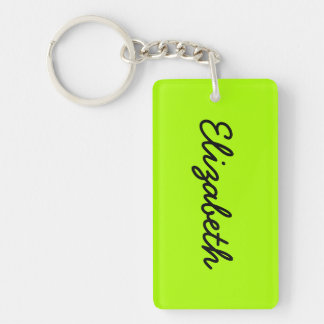 Fluorescent Green Solid Color Double-Sided Rectangular Acrylic Key Ring